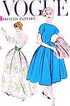 1950s Beautiful Evening Gown Cocktail Dress Pattern VOGUE 9378 Bateau Neckline Low V Back Bust 34 Vintage Sewing Pattern
