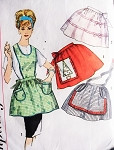 1960s  One Yard Aprons Pattern SIMPLICITY 4213 Bib Apron or Lovely Half Hostess Aprons One Size Vintage Sewing Pattern