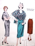 1950s Slim Skirt Weskit Vest and  Cape Stole Pattern BUTTERICK 6652 Bust 34 Vintage Sewing Pattern FACTORY FOLDED