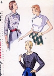 1940s Chic Blouse Pattern SIMPLICITY 2614 Three Daytime or Evening Styles Bust 30 Vintage Sewing Pattern