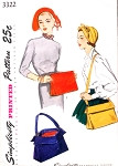 1950s Chic Hats and Bags Pattern SIMPLICITY 3322 Clutch Purse or Shoulder Bag Purse Medium Size Vintage Sewing Pattern