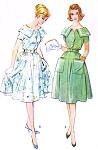 1960s Lovely Portrait Neckline Shirtwaist Dress Pattern McCALLS 5356 Daytime With Pockets or Cocktail Party Version Bust 32 Vintage Sewing Pattern