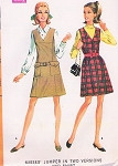 Mod 1960s Jumper and Shirt Blouse Pattern McCALLS 9368 Cute V neck Jumper Dress In 2 Style Versions Classic Tailored Blouse Bust 32.5 Vintage Sewing Pattern FACTORY FOLDED