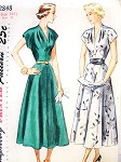 1940s Lovely V Neckline Dress Pattern SIMPLICITY 2848 Draped Neckline Flared Skirt Perfect Day or Party Cocktail Dress Bust 33 Vintage Sewing Pattern