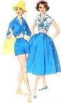 Rockabilly 1950s Beach Resort Weekend Wear Pattern SIMPLICITY 2121 Wing Collar Midriff Crop Top High Waist Shorts and Full Wrap Skirt Bust 36 Vintage Sewing Pattern