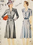 1940s WW II War Time Dress Pattern SIMPLICITY 4039 Stylish Daytime Dress 2 Versions  Bust 42 Vintage Sewing Pattern