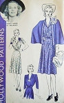 FABULOUS 40s Dress and Cape Pattern HOLLYWOOD 664 Starlet Wendy Barrie Smart V Neck Dress Tuxedo Fold Cape Bust 34 Vintage Sewing Pattern