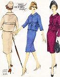 1950s ELEGANT Suit Pattern VOGUE COUTURIER DESIGN 135 Slim Skirt Short Jacket Easy Day To Evening Bust 34 Vintage Sewing Pattern
