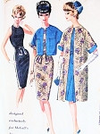 1960s STUNNING Pauline Trigere Cocktail Dress and Evening Coat Pattern McCALLS 6574 Seductive Slim Dress Reversible Jacket or Coat  Bust 36 Vintage Sewing Pattern