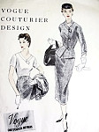 1950s High Fashion Suit and Blouse Pattern VOGUE COUTURIER DESIGN 808 Slim Skirt Figure Hugging Jacket  Lovely Tuck In Blouse Bust 34 Vintage Sewing Pattern FACTORY FOLDED