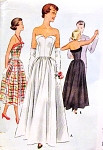 1950s BEAUTIFUL Strapless Evening Gown Pattern McCALL 8235 Strapless Full Skirt Evening Party Dress In 2 Lengths Bust 33 Vintage Sewing Pattern