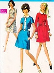1960s MOD Dress Pattern Simplicity 8496 3 CUTE Styles Day or Party  Mini Dress Bust 34 Vintage Sewing Pattern