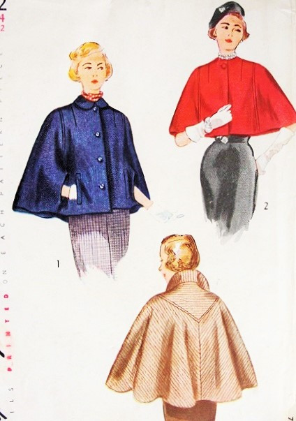 1940s ELEGANT Cape In Two Lengths Pattern SIMPLICITY 3122 Unique V ...
