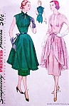 BEAUTIFUL Unique Cocktail Party Dress and Overskirt Apron SIMPLICITY 8436 Lovely Pin Tuck Bodice Midriff Slim Dress Full Evening Apron Bust 31 Vintage Sewing Pattern FACTORY FOLDED