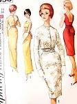 1960s Elegant MAD MEN Evening Cocktail Wiggle Dress Gown SIMPLICITY Pattern 4653 Low Back Obi-Sash Short Jacket Oriental Style Bust 34 Vintage Sewing Pattern