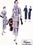 1940s ELEGANT Cocktail Evening Dress Pattern VOGUE COUTURIER Design 538 Flattering Triple Tier Slim Dress Striking Large WING Collar Fitted Jacket Bust 34 Vintage Sewing Pattern