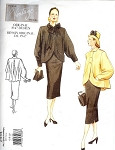 Vintage Vogue Pattern 2444 Original 1947 Design 2 PC Suit Lovely Flared Back Jacket Coat, Slim Skirt UNCUT Sizes 12-14-16