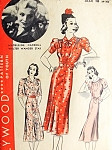 1930s BEAUTIFUL  Dress Pattern HOLLYWOOD 1515 Three Style Versions Starlet Madeleine Carroll Bust 36 Vintage Sewing Pattern