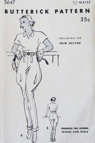 1930s JODHPURS Pants ULTRA RARE Pattern Butterick 5647 Fabulous Riding Sports Pants Original 30s Waist Size 32 FACTORY FOLDED Vintage Sewing Pattern