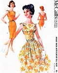 Early 60s ROCKABILLY Day or Evening Party Dress Pattern McCalls 6264 Tight Slim or Full Skirt Tie Shoulders V Back Bust 36 Vintage Sewing Pattern
