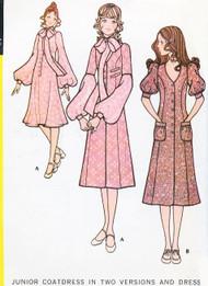 70s McCalls 2746 Sewing Pattern ROMANTIC MIDI Coatdress and Dress Bohemian Two Styles Bust 35 Vintage Sewing Pattern