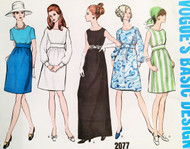 1960s MOD Dress Pattern Vogue Basic Design 2077 Five Great Style Versions Includes Day to Evening Bust 34 Vintage Sewing Pattern