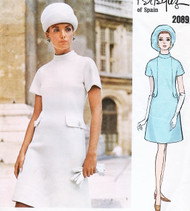 60s MOD Dress Pattern VOGUE COUTURIER DESIGN 2089 PERTEGAZ Seam Interest A Line Dress Bust 34 Vintage Sewing Pattern