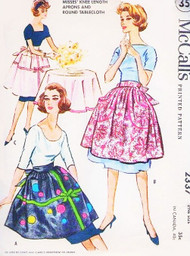 1950s PRETTY Knee Length  Hostess APRONS and ROUND Tablecloth Pattern McCALLS 2337 A Coats and Clarks Designed Pattern  One Size FACTORY FOLDED Vintage Sewing Pattern
