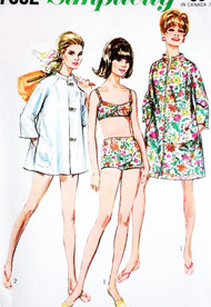 MOD 1960s Beach Wear Pattern SIMPLICITY 7692 Cute Bikini Bathing Suit Swimsuit Beach Coat Cover Up  or Coat Dress Size 10 Vintage Sewing Pattern FACTORY FOLDED