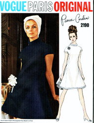 MOD 60s PIERRE CARDIN Dress Pattern VOGUE PARIS Original 2190 Size 8 Vintage Sewing Pattern