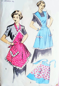 1950s PERKY Aprons Pattern ADVANCE 5884 Three Styles Includes Half Apron Two Full Bib Aprons Work or Tea Time Hostess Styles Vintage Sewing Pattern