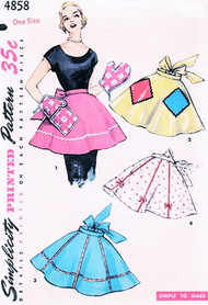 1950s HOSTESS Half Aprons and Oven Mitts Pattern SIMPLICITY 4858 ONE YARD Aprons Easy To Make 4 Styles One Size Vintage Sewing Pattern