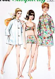 1960s MOD Beach Wear Pattern SIMPLICITY 7692 Cute Bikini Bathing Suit Swimsuit Beach Coat Cover Up  or Coat Dress Bust 38 Vintage Sewing Pattern FACTORY FOLDED