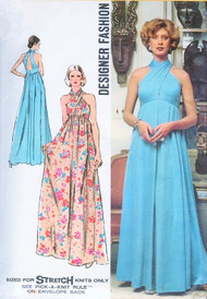 70s GLAMOROUS Evening Maxi Gown Pattern SIMPLICITY 5364 Designer Fashion Disco Diva Empire Dress Twisted Halter Top Maxi Dress Bust 34 Vintage Sewing Pattern