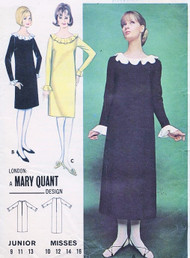 1960s MOD MARY QUANT Dress Pattern BUTTERICK 3287 Quick n Easy Regular or Midi Length SHIFT Dress Ruffle Neck Version Bust 34 Vintage Sewing Pattern