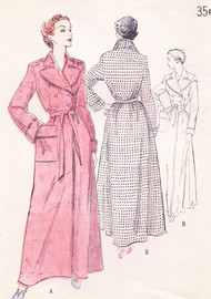 1950s CLASSIC Tailored Double Breasted Robe Housecoat Bathrobe Pattern BUTTERICK 5280  Lovely Notched Lapels Bust 40 Vintage Sewing Pattern