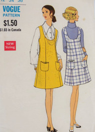 1970s MOD Jumper Pattern VOGUE 7599 Mini Jumper, Scoop Neckline, Princess Seams and Patch Pockets  Bust 34 Vintage Sewing Pattern UNCUT