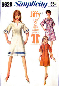 MOD 60s Easy To Sew A Line Dress SIMPLICITY 6628 Bell Sleeves Slit Neckline Cute Dress Bust 32 Jiffy Vintage Sewing Pattern
