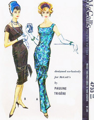 1950s RARE Pauline Trigere Evening Gown Pattern Exclusive McCALLS 4733 Slim CHEMISE Style With Tunic  Cocktail or Formal Lengths Stunning Design Bust 34 Vintage Sewing Pattern