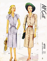 1940s Classic ShirtWaist Dress Pattern McCALL 6752 Two Style Versions Bust 30 Vintage Sewing Pattern FACTORY FOLDED