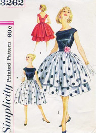 1960s BEAUTIFUL Evening Party Cocktail Dress and Overskirt Pattern SIMPLICITY 3262 Bateau Neckline V Back Full Skirt Dress Size 11 Vintage Sewing Pattern