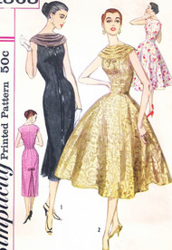 1950s STUNNING Day or Evening Party Cocktail Dress Pattern SIMPLICITY 1868 Full  or Slim Sheath Styles Bust 36 Vintage Sewing Pattern UNCUT