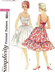 1960s LOVELY Full Skirt Party Evening Dress Pattern SIMPLICITY 3470  Scoop Necklines 2 Glamorous Styles Bust 34 Vintage Sewing Pattern FACTORY FOLDED
