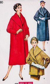 1950s FABULOUS Audrey Hepburn Style Coat Pattern SIMPLICITY 4780  Luxurious SHAWL Collar, Coat or Jacket Length Bust 32  Easy To Sew Vintage Sewing Pattern