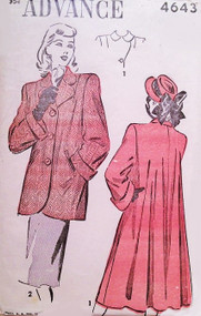 1940s Classic FILM NOIR style Swing Back Coat or Jacket Pattern ADVANCE 4643 Lovely Style Details Bust 34 Vintage Sewing Pattern