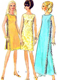 MOD 60s Unique Evening Dress Maxi or Mini Pattern SIMPLICITY 7344 Slim Dress With Over Dress Bust 36 Vintage Sewing Pattern UNCUT