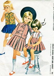 1960s ADORABLE Little Girls Pleated Suspender Skirt, Blouse and Jacket Pattern McCALLS 6702 Sweet Styles Size 5 Vintage Sewing Pattern UNCUT
