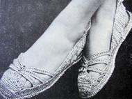 INSTANT PDF Vintage Crochet Pattern 1940s Shoes Flats Crocheted Sandals Crocheted Pattern Perfect For Beach Summer