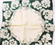 1950s VINTAGE Printed Floral Hanky PANSY Flowers Pansies Handkerchief To Frame Collectible Hankies Chic Hankies To Collect