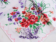 50s VINTAGE Printed Floral Basket Bouquet Hanky Colorful Flowers Handkerchief To Frame Add To Your Hankies Collection